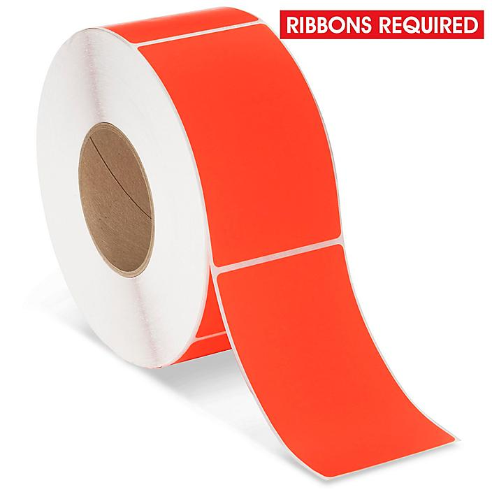 """Industrial Thermal Transfer Labels - Fluorescent Red, 3 x 5"""", Ribbons Required S-17063R"""