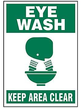 """""""Eye Wash"""" Sign - Vinyl, Adhesive-Backed S-17343V"""