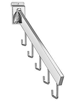 "5 J-Hook Waterfall for Slatwall - 16"", Chrome S-18617C"