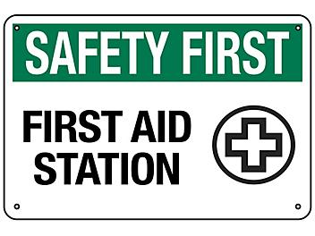 """""""First Aid Station"""" Sign - Aluminum S-18791A"""