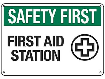 """""""First Aid Station"""" Sign - Plastic S-18791P"""
