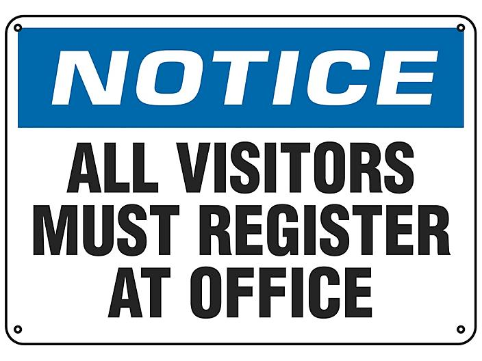 """""""All Visitors Must Register At Office"""" Sign - Plastic S-18793P"""