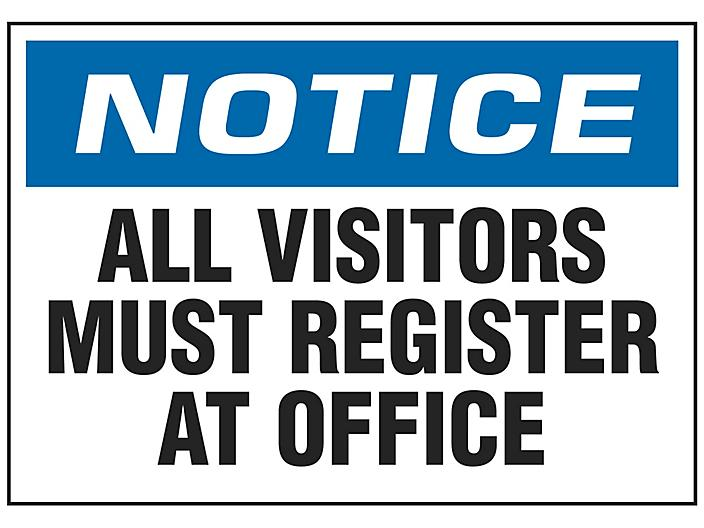 """""""All Visitors Must Register At Office"""" Sign - Vinyl, Adhesive-Backed S-18793V"""
