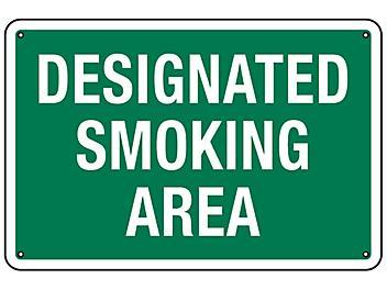 """Designated Smoking Area"" Sign - Aluminum S-18794A"