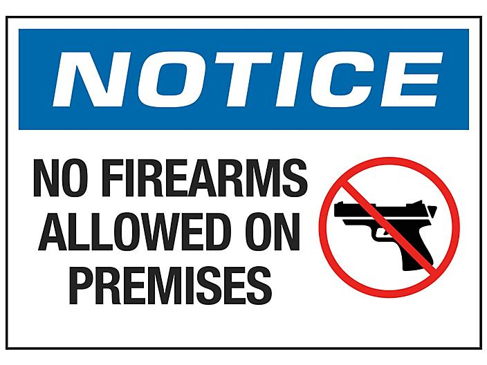 """""""No Firearms Allowed On Premises"""" Sign"""
