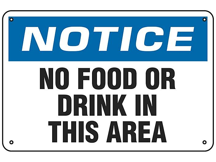 """""""No Food Or Drink In This Area"""" Sign - Aluminum S-18796A"""