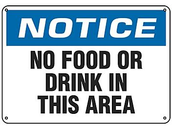 """""""No Food Or Drink In This Area"""" Sign - Plastic S-18796P"""