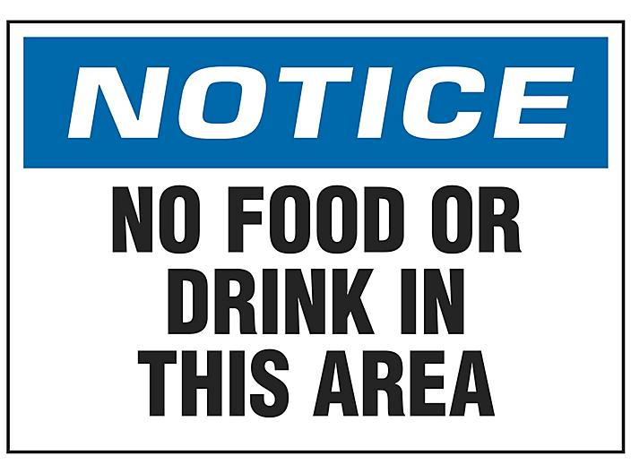 """""""No Food Or Drink In This Area"""" Sign - Vinyl, Adhesive-Backed S-18796V"""