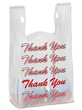 "Economy T-Shirt Bags - ""Thank You"", 11 1/2 x 6 x 21"""