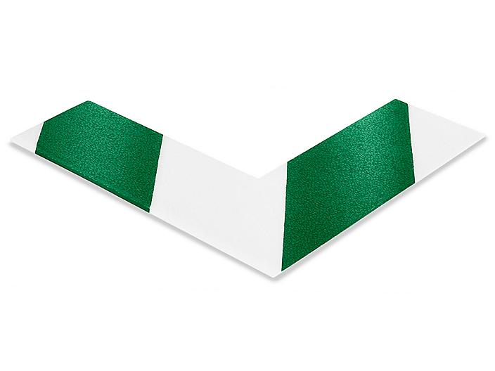"""Mighty Line® Deluxe Safety Tape Angles - 6 x 6 x 2"""", Green/White S-19126G/W"""