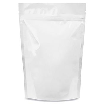 """Glossy Stand-Up Barrier Pouches - 6 x 9 x 3"""", White S-19169W"""