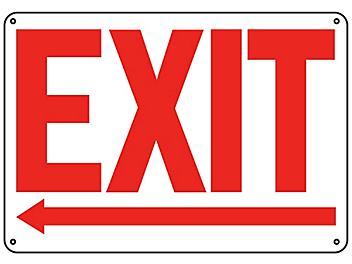 """""""Exit"""" Arrow Left Sign - Plastic S-19209P"""