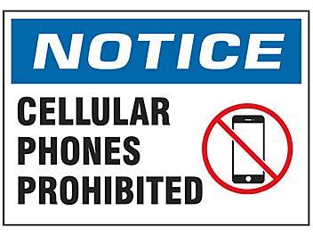"""Cellular Phones Prohibited"" Sign - Vinyl, Adhesive-Backed S-19211V"