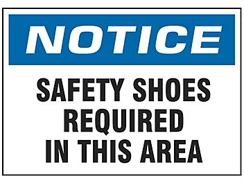 """""""Safety Shoes Required In This Area"""" Sign"""