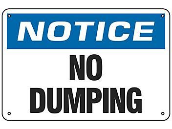 """""""No Dumping"""" Sign - Aluminum S-19214A"""