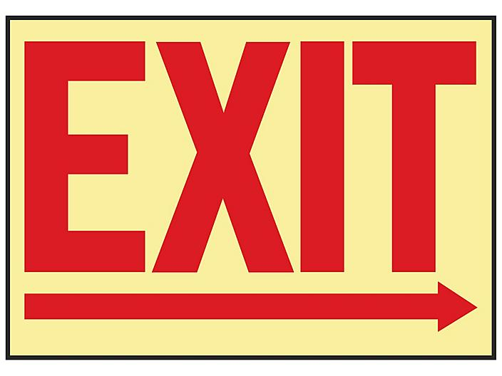 """Glow-In-the-Dark Sign - """"Exit"""" with Right Arrow, Adhesive Backed S-19218"""