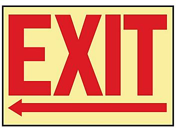 """Glow-In-the-Dark Sign - """"Exit"""" with Left Arrow, Adhesive Backed S-19219"""