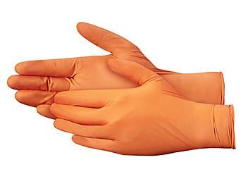 Uline Orange Nitrile Gloves - Powder-Free, Small S-19251S