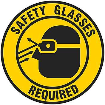 "Anti-Slip Floor Sign - ""Safety Glasses Required"", 17"" Diameter S-19292"