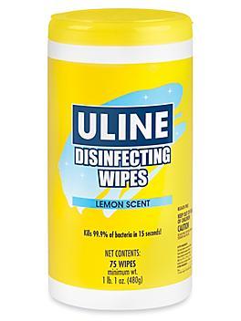 Uline Disinfecting Wipes - Lemon Scent, 75 ct S-19459LEMON