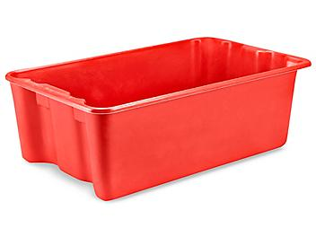 """Heavy-Duty Stack and Nest Containers - 24 x 15 x 8"""", Red S-19473R"""