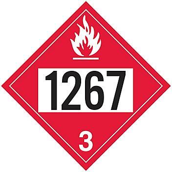 4-Digit D.O.T. Placard - UN 1267 Petroleum Crude Oil, Adhesive Vinyl S-19563V