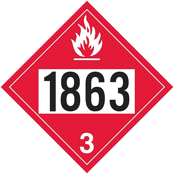 4-Digit D.O.T. Placard - UN 1863 Fuel, Aviation, Turbine Engine, Adhesive Vinyl S-19565V