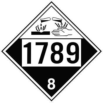 4-Digit D.O.T. Placard - UN 1789 Hydrochloric Acid, Tagboard S-19566T