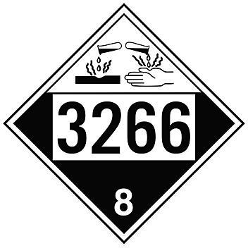 4-Digit D.O.T. Placard - UN 3266 Corrosive Liquid, Basic, Inorganic, N.O.S., Tagboard S-19567T