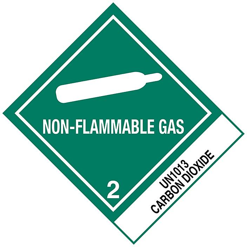 """D.O.T. Labels - """"Non-Flammable Gas Carbon Dioxide UN 1013"""", 4 x 4 3/4"""" S-19656"""