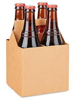 4 Bottle Beer Carrier - Kraft S-19906KRFT
