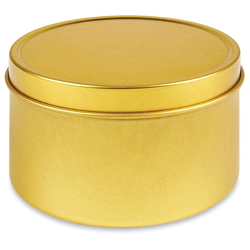 Deep Metal Tins - Round, 8 oz, Solid Lid, Gold S-19908GLD
