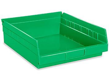 """Plastic Shelf Bins - 11 x 12 x 4"""", Green S-19944G"""