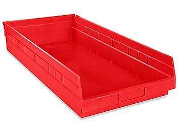 """Plastic Shelf Bins - 11 x 24 x 4"""", Red S-19946R"""