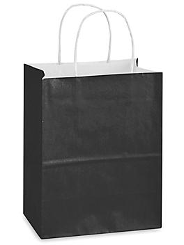 """Deluxe Tinted Color Shopping Bags - 8 x 4 1/2 x 10 1/4"""", Cub, Black S-19958BL"""