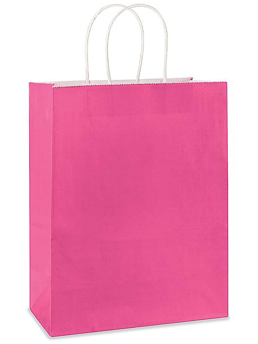 """Deluxe Tinted Color Shopping Bags - 10 x 5 x 13"""", Debbie, Pink S-19959PINK"""