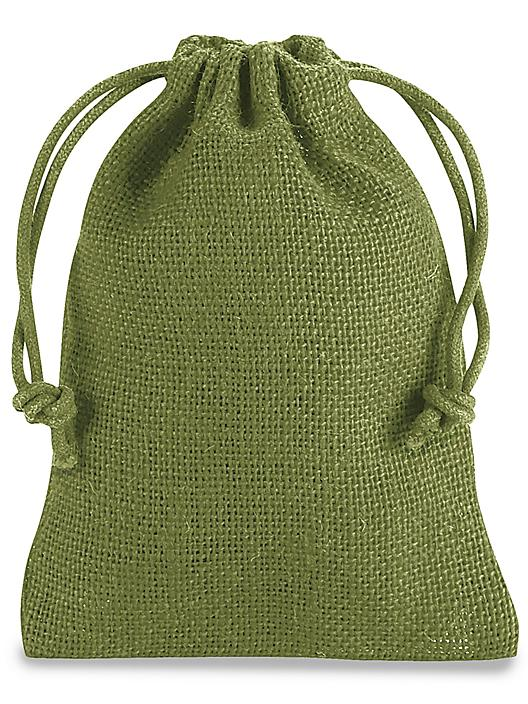 """Burlap Bags with Drawstring - 4 x 6"""", Moss S-20525M"""