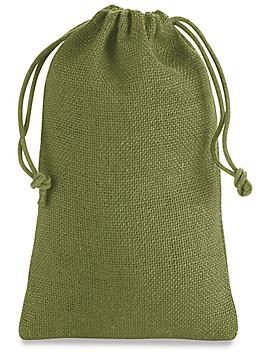 """Burlap Bags with Drawstring - 6 x 10"""", Moss S-20526M"""