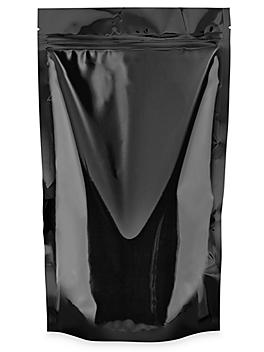 """Glossy Stand-Up Barrier Pouches - 7 x 11 1/2 x 4"""", Black S-20713BL"""