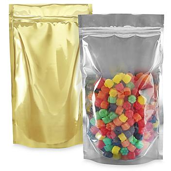 """Glossy Stand-Up Barrier Pouches - 7 x 11 1/2 x 4"""", Gold Back S-20713GLDB"""