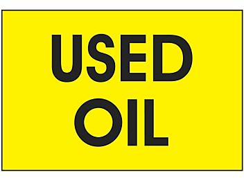 """Disposal/Trash Labels - """"Used Oil"""", 2 x 3"""" S-20764"""