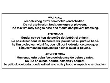 """Suffocation Warning Label - 2 3/4 x 5 1/4"""" S-20796"""