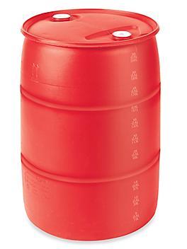 Red Plastic Drum - 55 Gallon, Closed Top S-20853