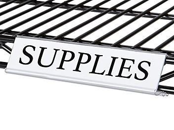 """Angled Wire Shelving Label Holders with Inserts - 6"""" S-20952"""