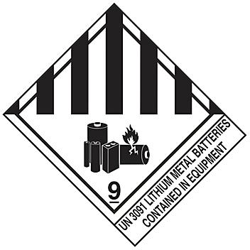 """D.O.T. Labels - """"Lithium Metal Batteries Contained in Equipment UN 3091"""", 4 x 4 3/4"""" S-20955"""