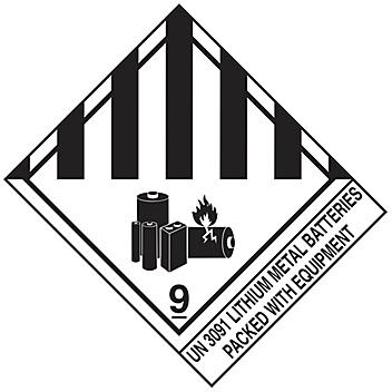 """D.O.T. Labels - """"Lithium Metal Batteries Packed With Equipment UN 3091"""", 4 x 4 3/4"""" S-20956"""