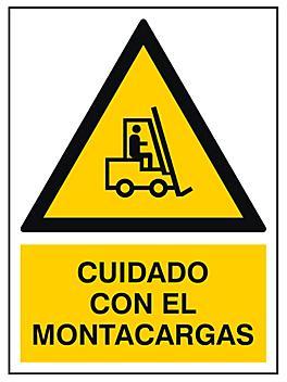 """""""Cuidado Con El Montacargas"""" Sign - Vinyl, Adhesive-Backed S-21168V"""