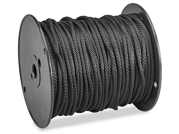 "Solid Braided Nylon Rope - 3/16"" x 500', Black S-21187"