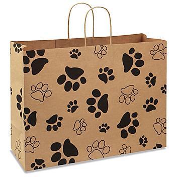 "Printed Kraft Paper Shopping Bags - 16 x 6 x 12"", Vogue, Paw Print S-21246PAW"