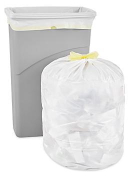 Drawstring Trash Liners - 1 Mil, 23 Gallon, White S-21324W